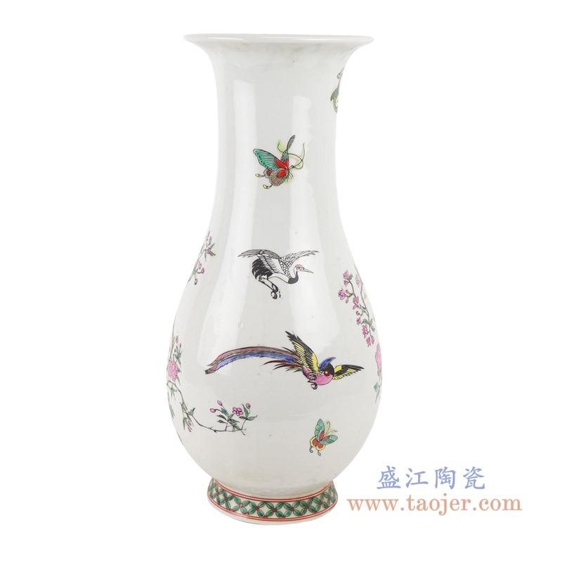 上图:RZSY11仿古粉彩凤凰牡丹花鸟敞口福桶瓶