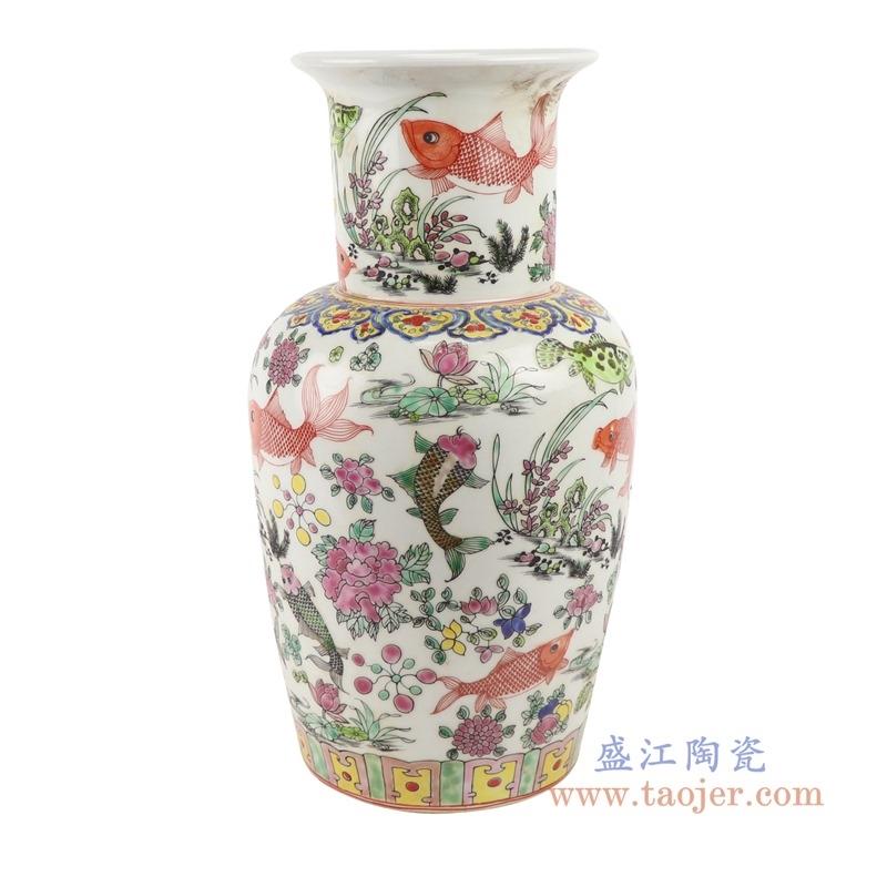 上图:RZSY14仿古粉彩荷花鱼草纹花瓶