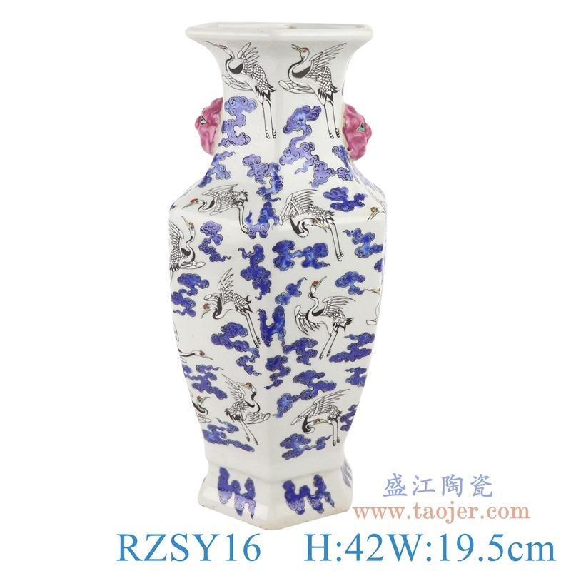 上图:RZSY16仿古粉彩百鹤图飞鹤纹六方双耳花瓶