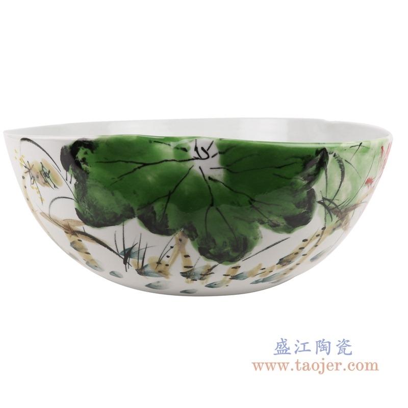 上图:RZTH01颜色釉窑变绿色写意荷花鱼纹异形花盆水浅