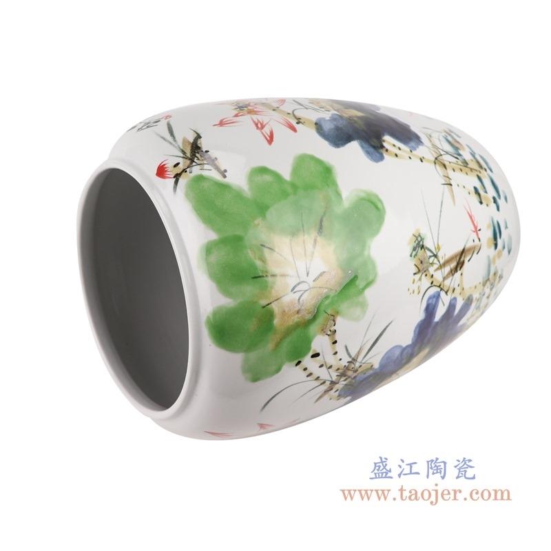上图:RZTH02 颜色釉窑变绿色写意荷花鱼纹冬瓜缸