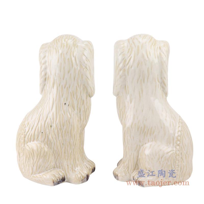 上图:RZTi01颜色釉白色小狗蹲坐狗雕塑