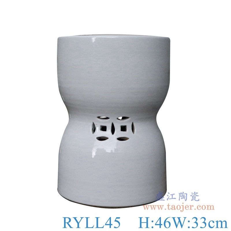 RYLL45-白色铜钱孔异形凳子凉墩