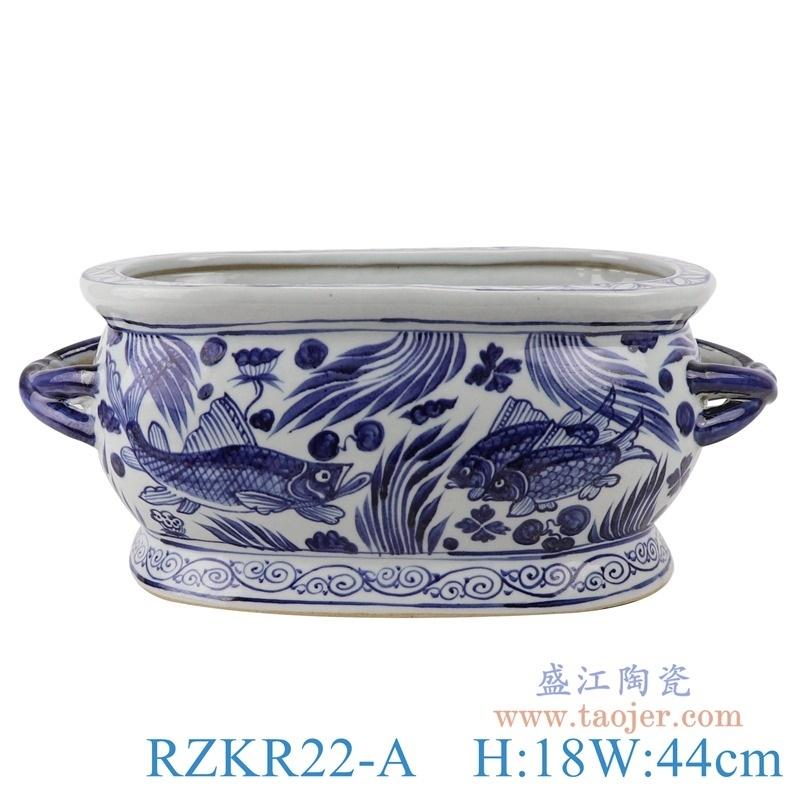 上图:RZKR22-A仿古元贝斯特全球最奢华的游戏平台鱼藻纹双耳长方形花盆水缸