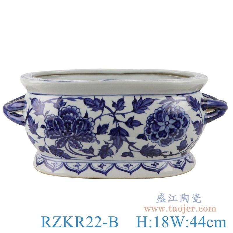 上图:RZKR22-B仿古元贝斯特全球最奢华的游戏平台牡丹纹双耳长方形花盆水缸