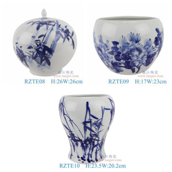 RZTE08-09-10青花写意竹纹西瓜罐尖盖罐牡丹纹小缸竹纹异形花瓶