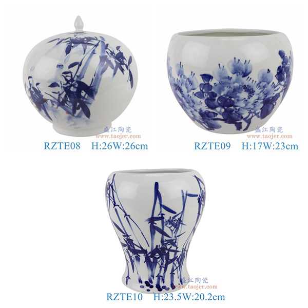 RZTE08-09-10手绘青花写意竹纹西瓜罐牡丹小缸竹纹异形花瓶组合图