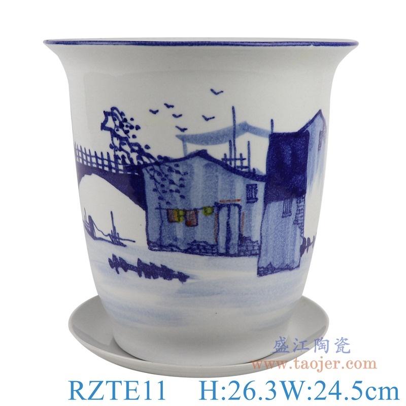 上图:RZTE11手绘青花写意乡村风景纹花盆