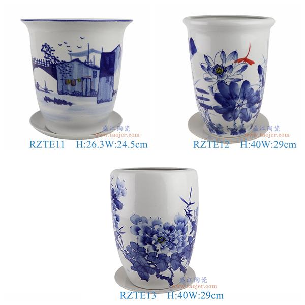 上图:RZTE11-12-13手绘青花写意乡村风景荷花蜻蜓牡丹花盆组合