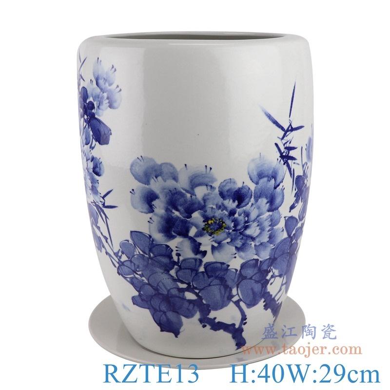 上图:RZTE13手绘青花写意牡丹纹花盆