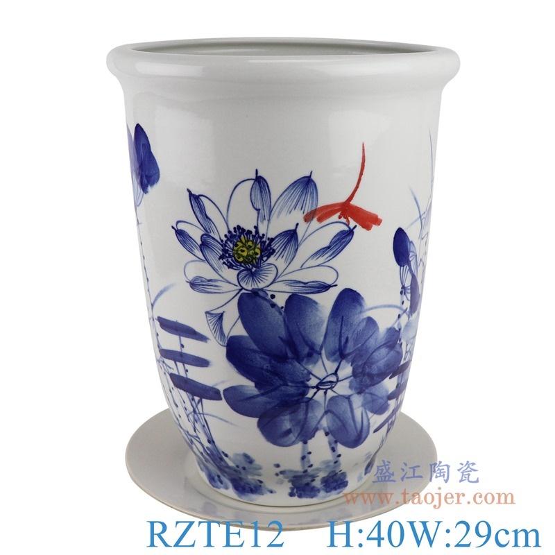 上图:RZTE12手绘青花写意荷花蜻蜓纹花盆