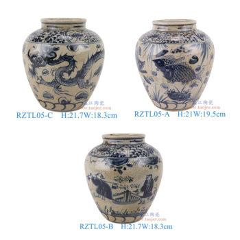 RZTL05-A-B-C仿古青花开片鱼草人物龙纹罐子